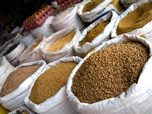 grains at market, by erin thomas